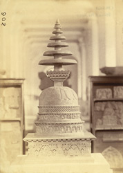 Small stupa from Loriyan Tangai, Peshawar District, photographed after restoration, on display in the Indian Museum, Calcutta 10031038